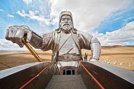 A 131-foot-tall statue of Genghis Khan sits on the steppes outside Ulan Bator. PHOTOGRAPH BY ANDREA FAZZARI